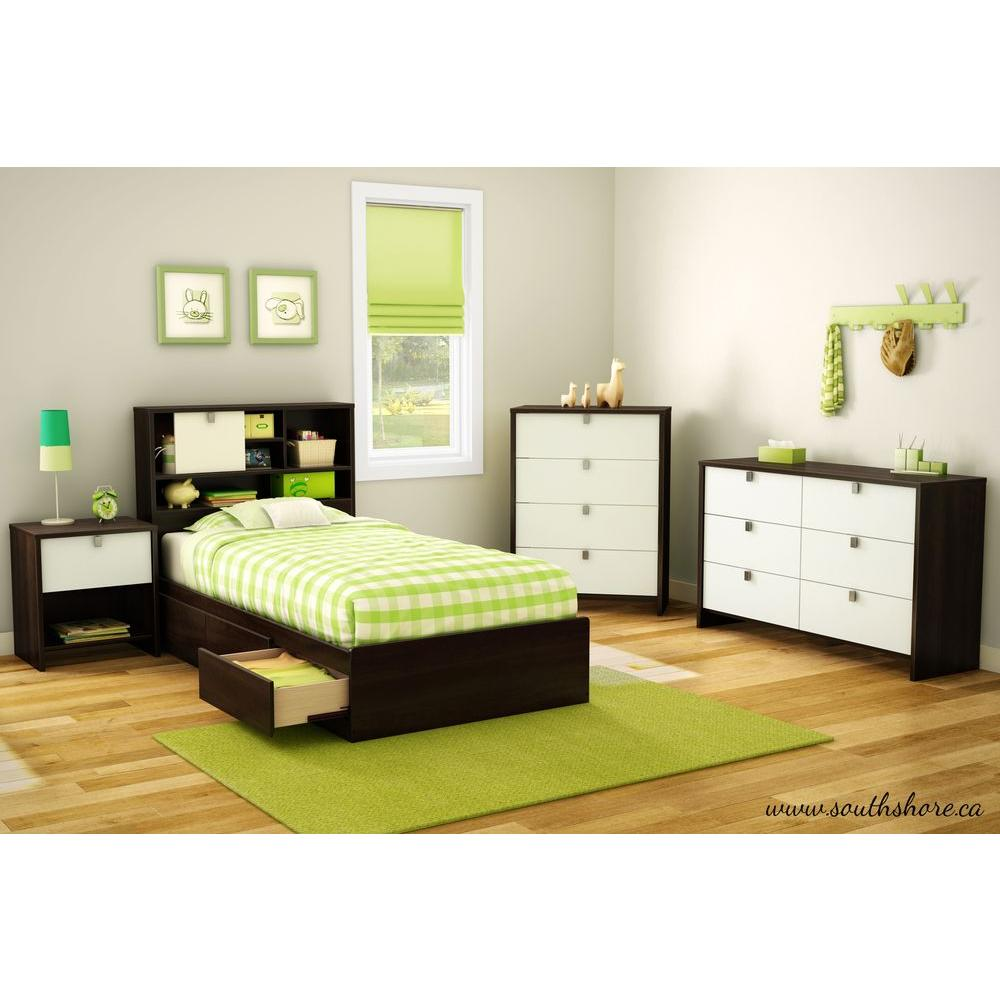Cookie Mocha and White Twin Kids Headboard