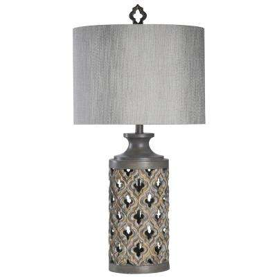 34 5 In Vincent Gray Table Lamp With Hardback Fabric Shade