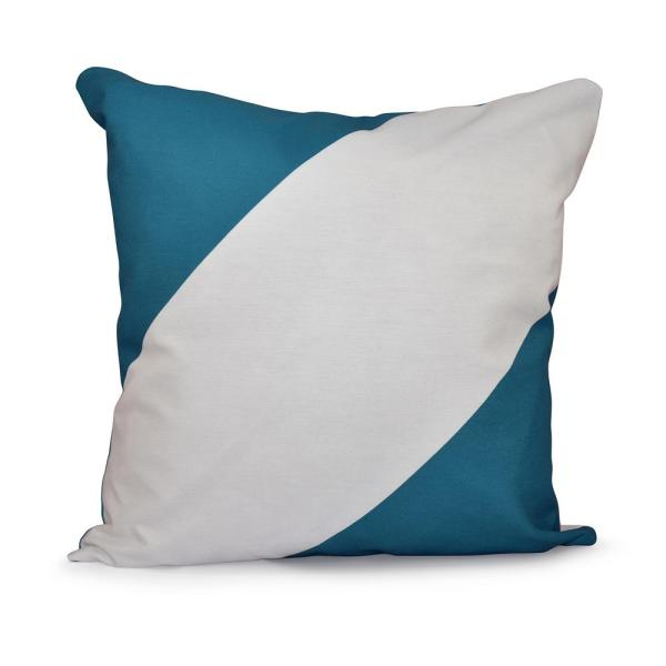 undefined Big and Bold Teal Striped 16 in. x 16 in. Throw Pillow