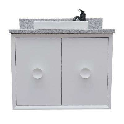 Stora 31 in. W x 22 in. D Wall Mount Bath Vanity in White with Granite Vanity Top in Gray with White Round Basin
