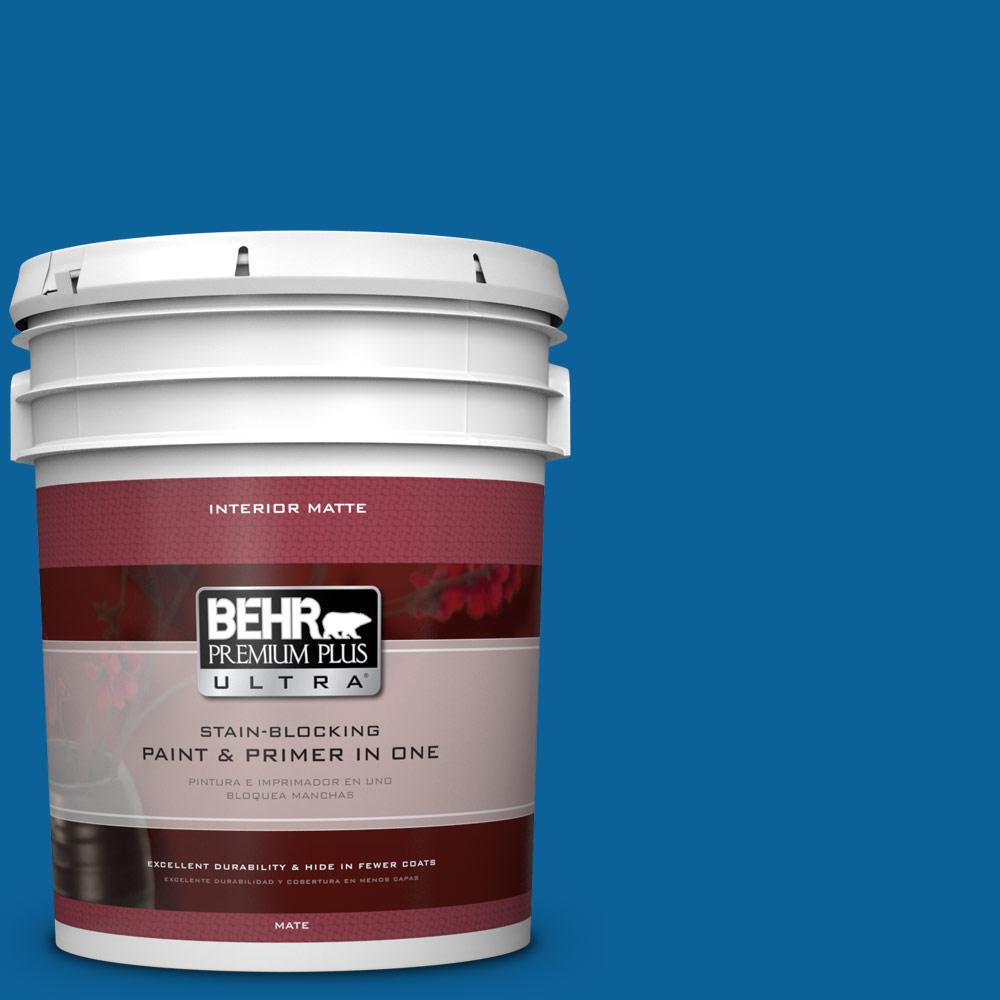 BEHR Premium Plus Ultra 5 gal. #570B-7 Cobalt Glaze Flat/Matte Interior Paint