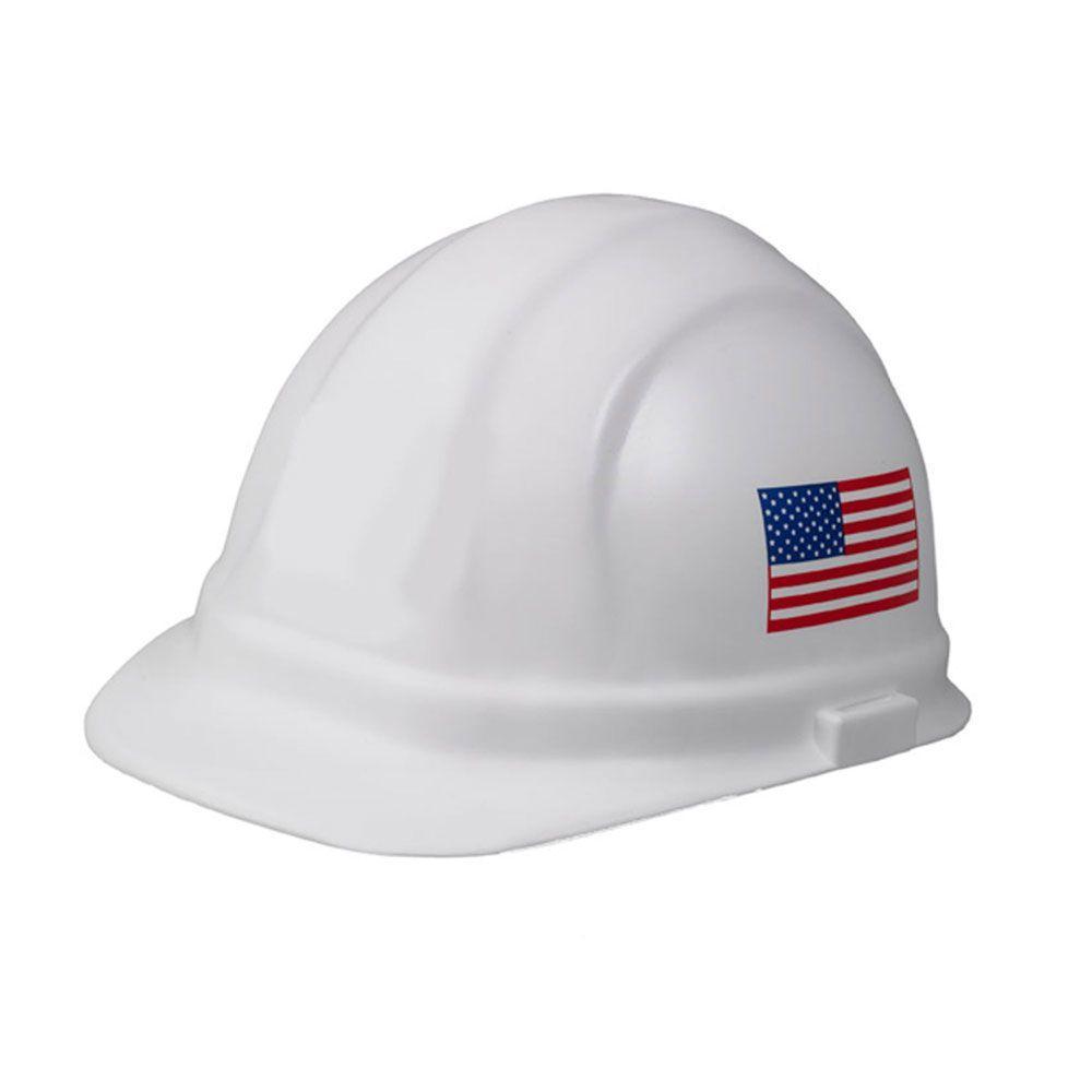 Omega II 6 Point Nylon Suspension Slide-Lock Cap Hard Hat in White w/Imprinted American Flag