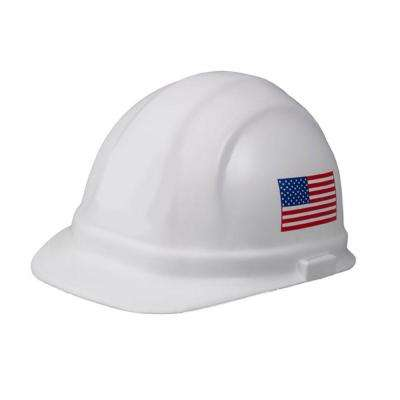 Omega II 6 Point Suspension Nylon Mega Ratchet Cap Hard Hat in White w/Imprinted American Flag