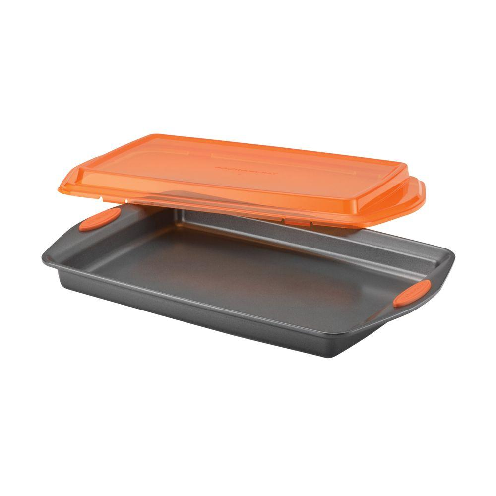 Rachael Ray Nonstick Bakeware 10 in. x 15 in. Covered Cookie Pan in Gray with Orange Lid and Handles