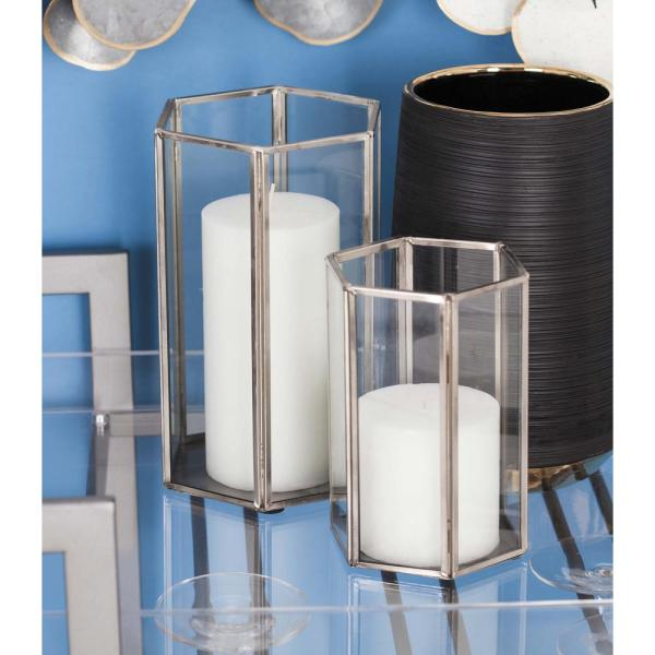 Large 10 In Medium 8 In Small 6 In Silver And Clear Glass Hexagonal Prism Candle Holders Set Of 3