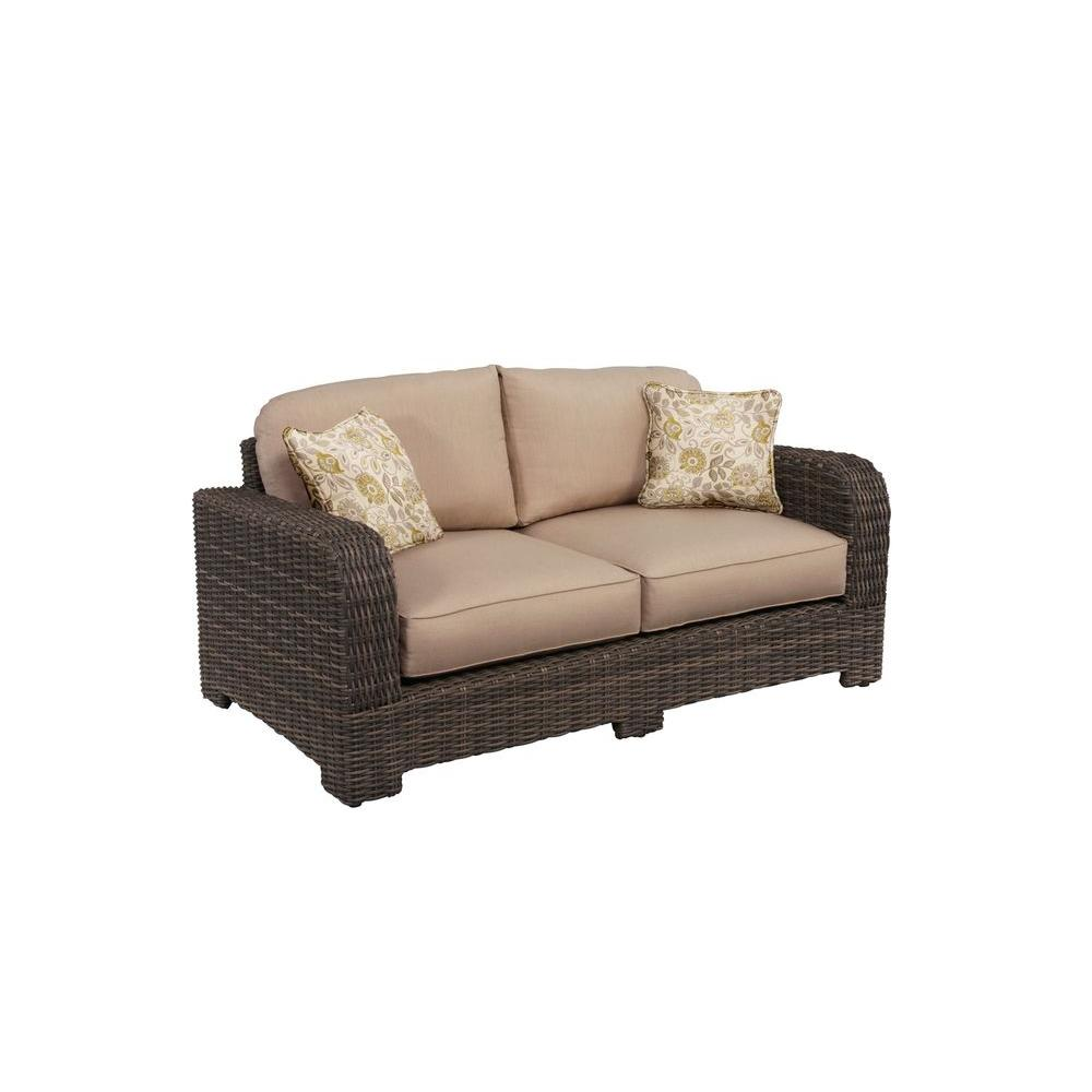 Brown Jordan Northshore Patio Loveseat with Sparrow Cushions and Aphrodite Spring Throw Pillows -- CUSTOM