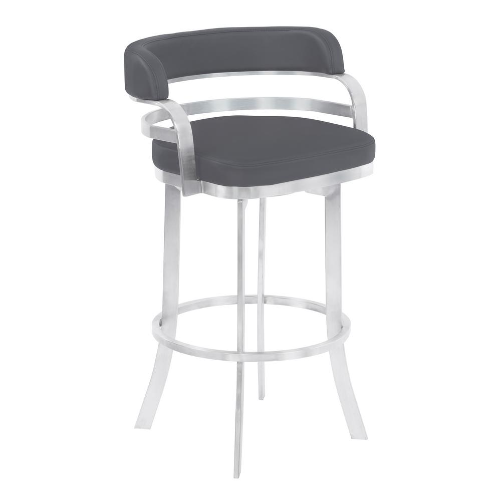 Armen Living Prinz 26 In Metal Swivel Bar Stool In Gray Faux Leather With Brushed Stainless Steel And Gray Walnut Back Lcprbagrbs26 The Home Depot