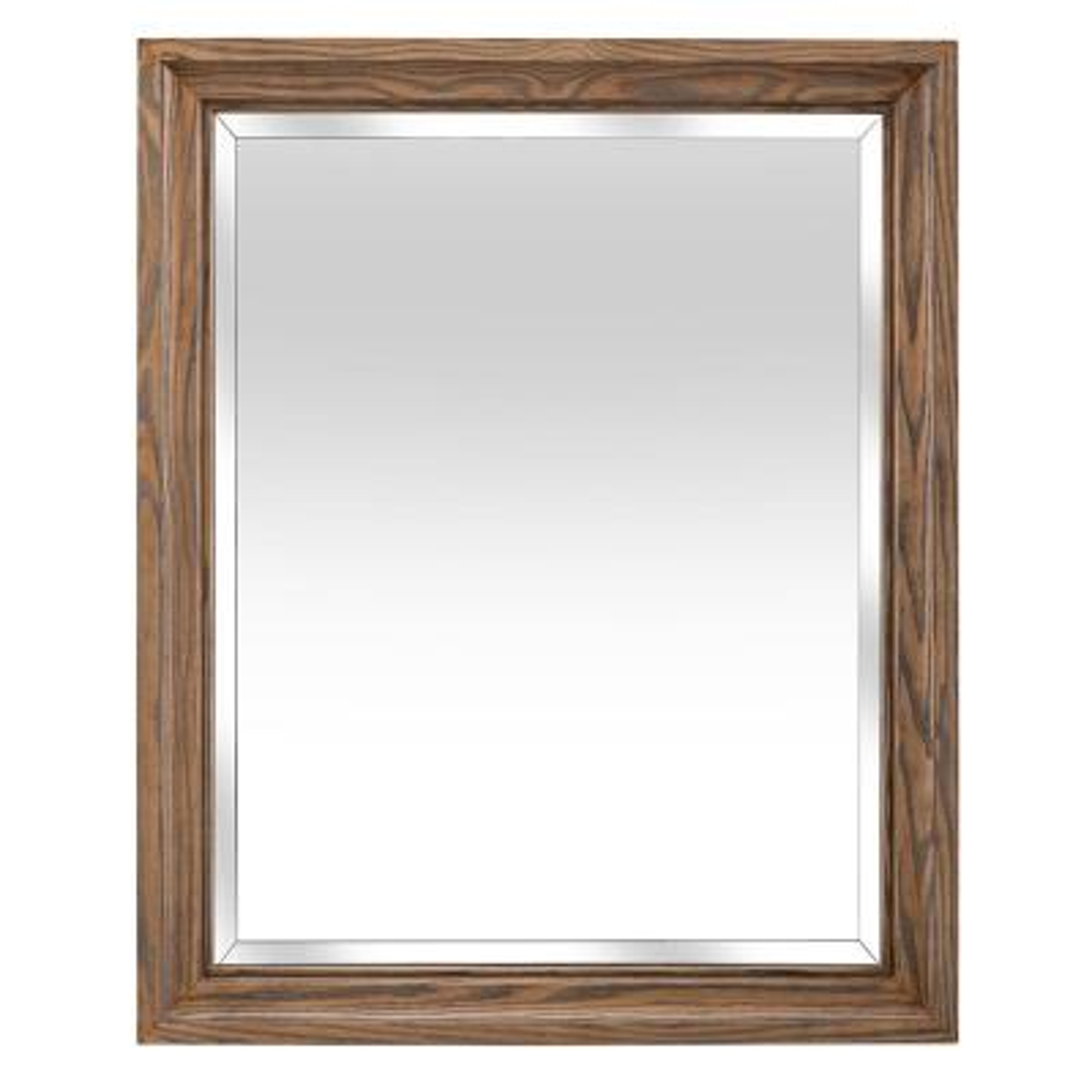 26.00 in. W x 32.00 in. H Framed Rectangular Beveled Edge Bathroom Vanity Mirror in Weathered Oak