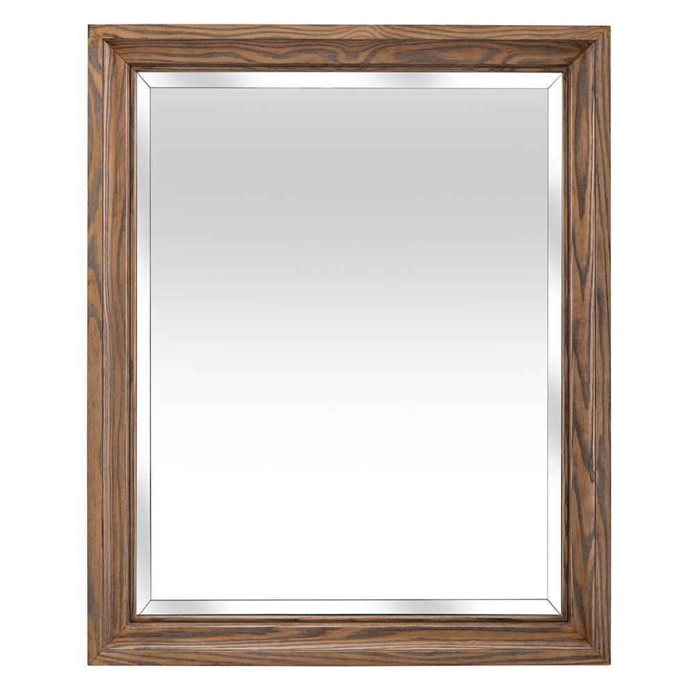 Goldsboro 26 in. W x 32 in. H Framed Wall Mirror in Weathered Oak