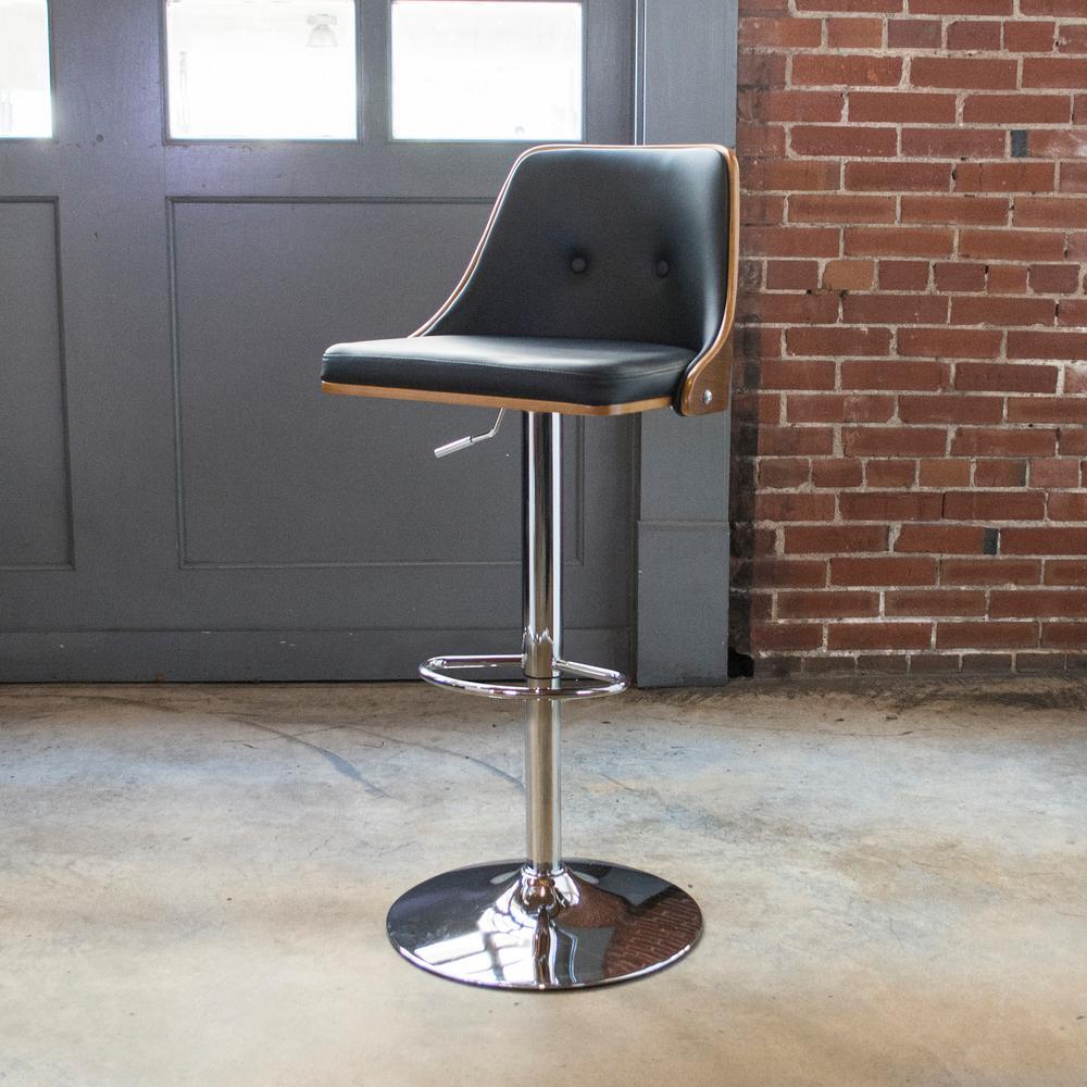 Bent Wood Adjustable Height Onyx Swivel Cushioned Bar Stool