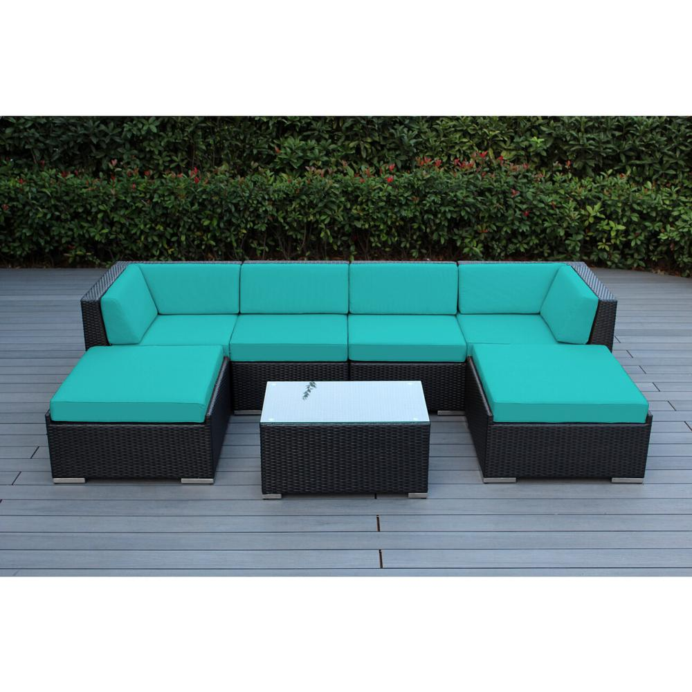 Ohana Depot Ohana Black 7-Piece Wicker Patio Seating Set with Spuncrylic Turquoise Cushions