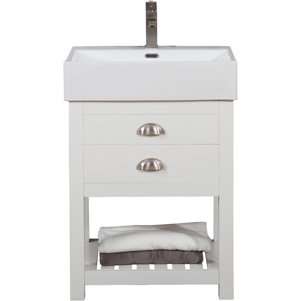 Gavin 24 in. W x 16.5 in. D Bath Vanity in White with Porcelain Vanity Top in White with White Basin