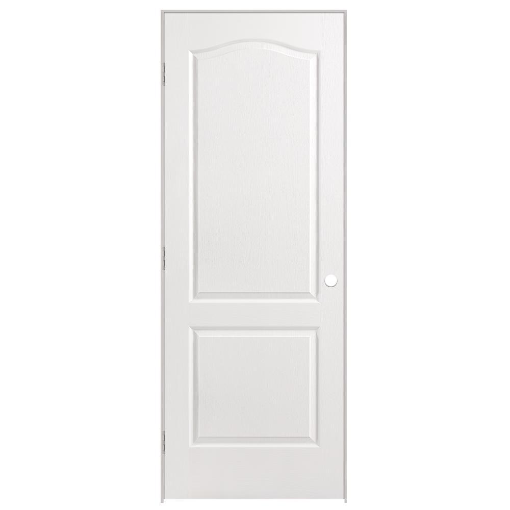 30 in. x 80 in. Solidoor 2-Panel Arch Top Solid-Core Textured Primed Composite Single Prehung Interior Door