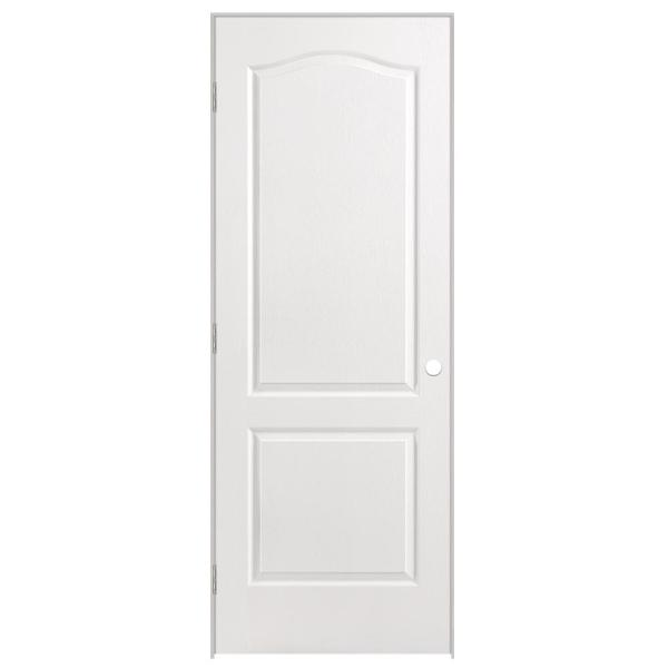 30 in. x 80 in. Solidoor 2-Panel Arch Top Solid-Core Textured Primed Composite Single Prehung Interior Door