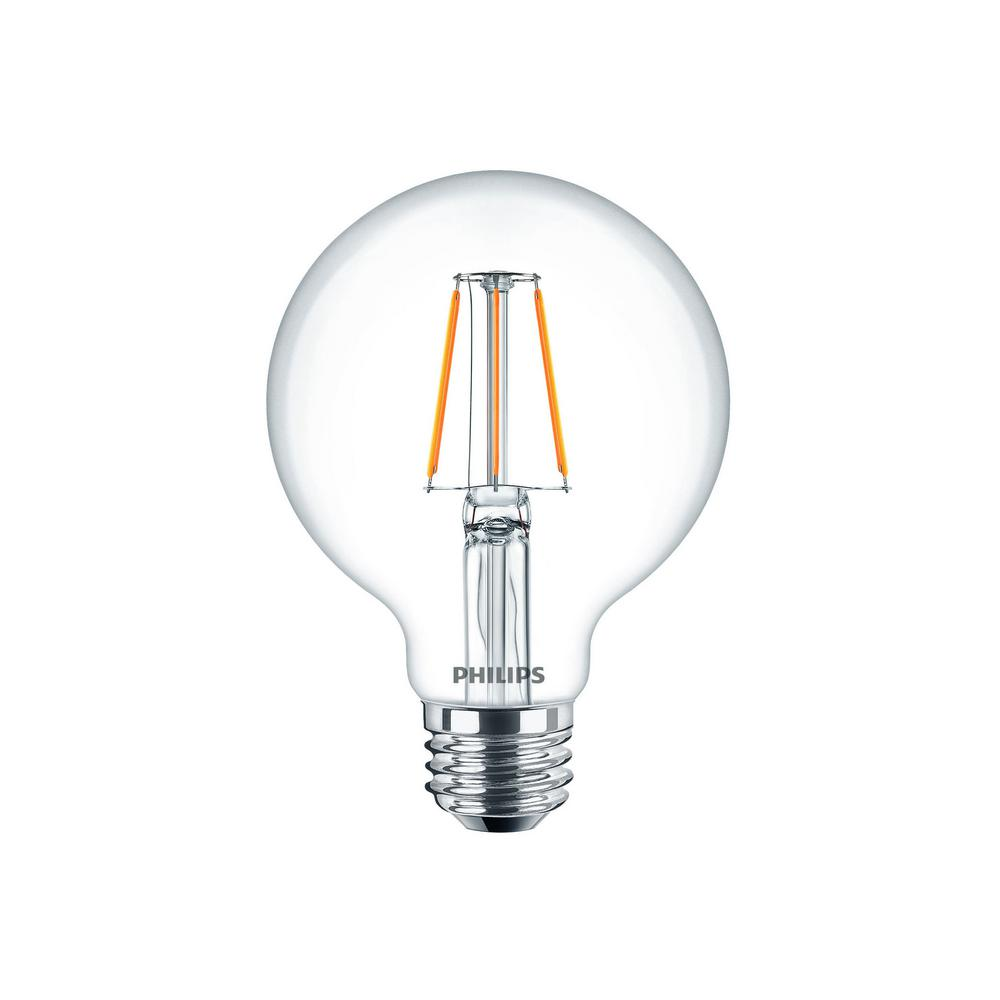 60W Equivalent Glass Clear G25 Dimmable LED Indoor/Outdoor Light Bulb With  Warm Glow Effect