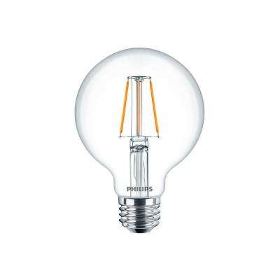 60W Equivalent Glass Clear G25 Dimmable LED Indoor/Outdoor Light Bulb with Warm Glow Effect (2-Pack)