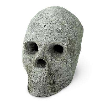 Gray Ceramic Fire Pit Skull Fireproof Decoration for Fire Pits and Fireplaces