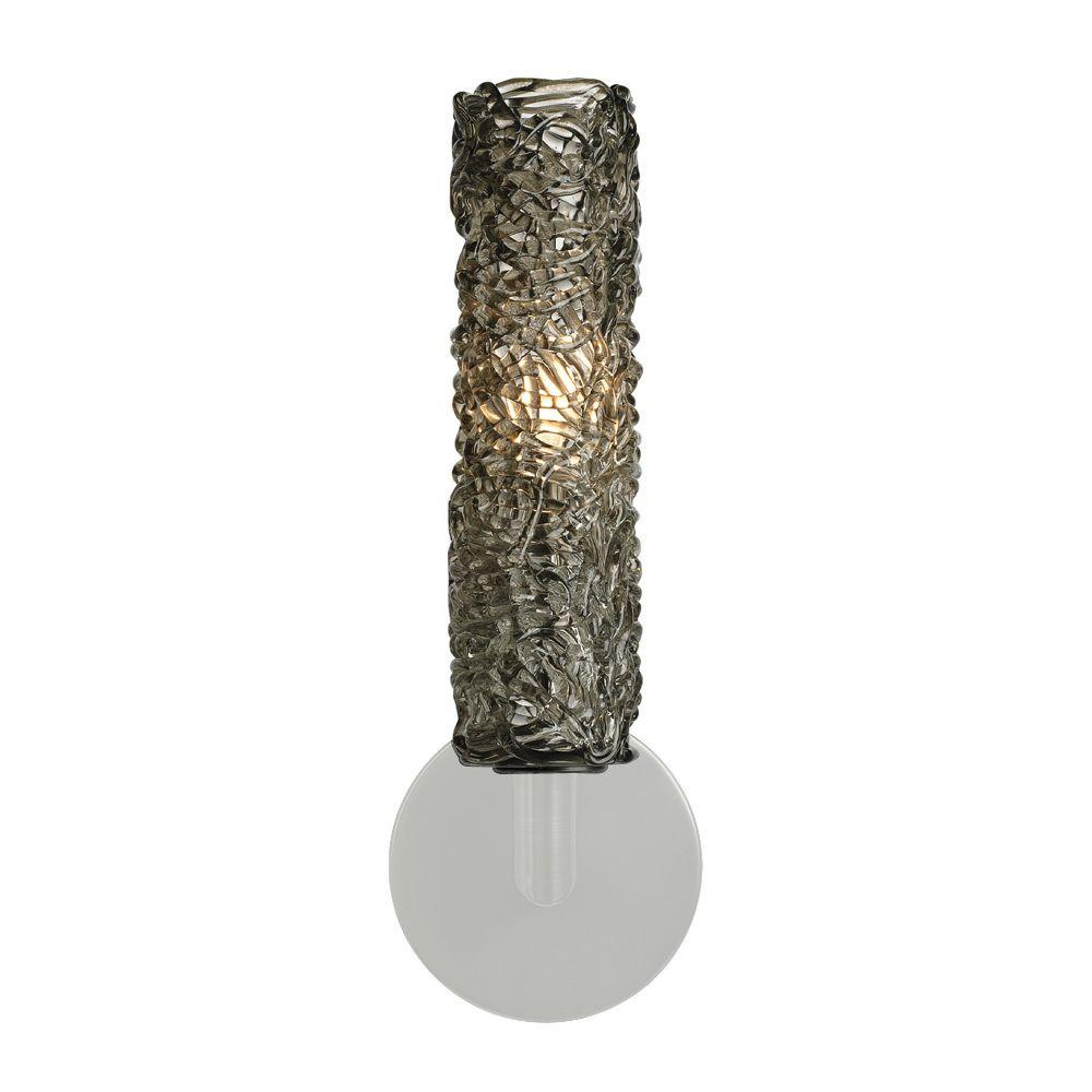 LBL Lighting Mini-Isis Cylinder 1-Light Satin Nickel Halogen Wall Light with Smoke Shade