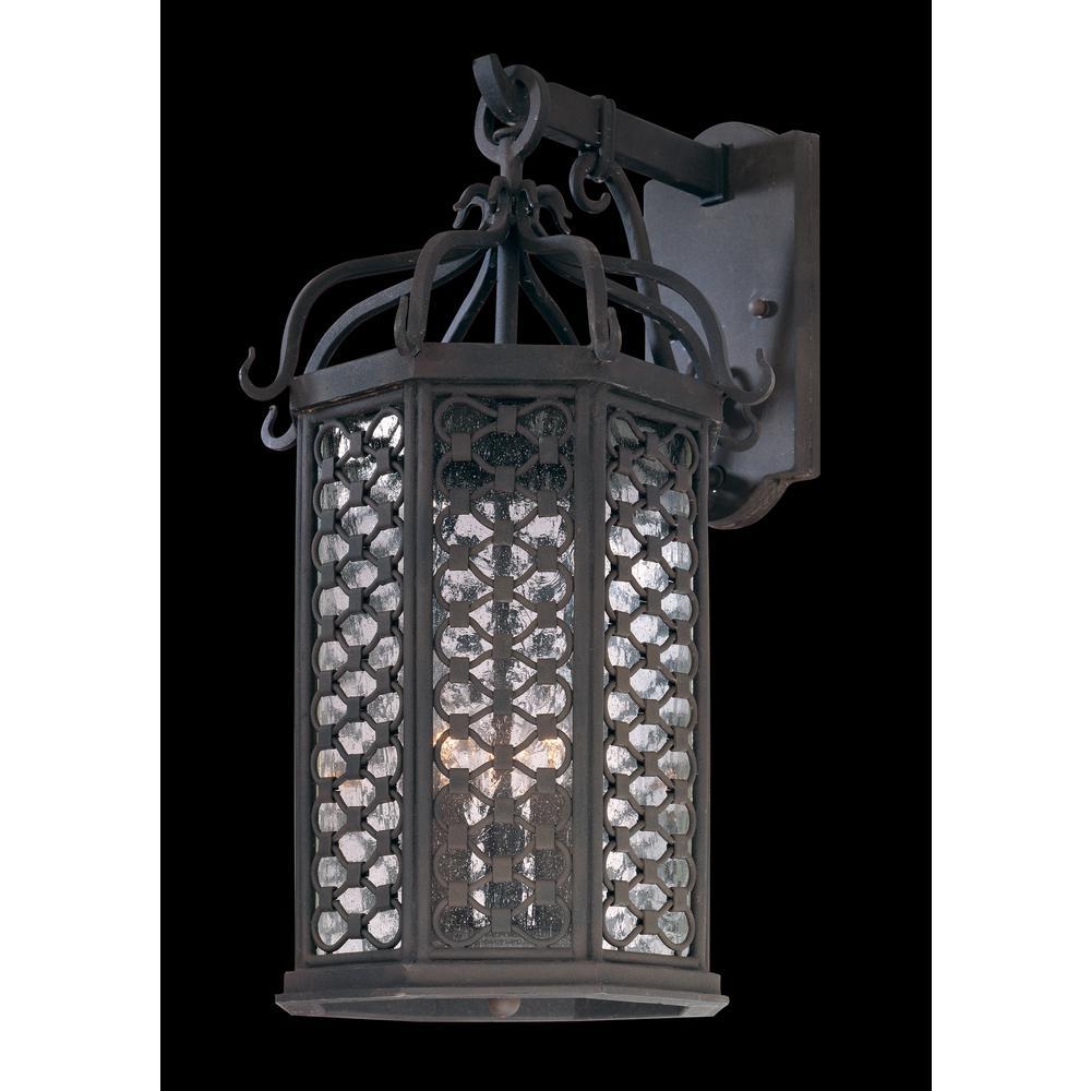 Los Olivos 3-Light Old Iron Outdoor Wall Mount Lantern