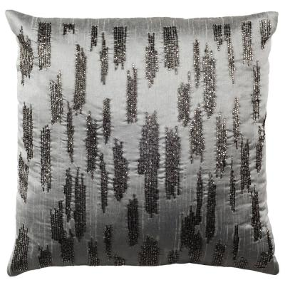 Jasper Grey Geometric Down Alternative 18 in. x 18 in. Throw Pillow