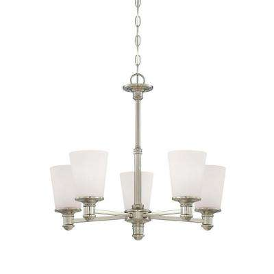 5-Light Satin Nickel Chandelier with Etched White Glass