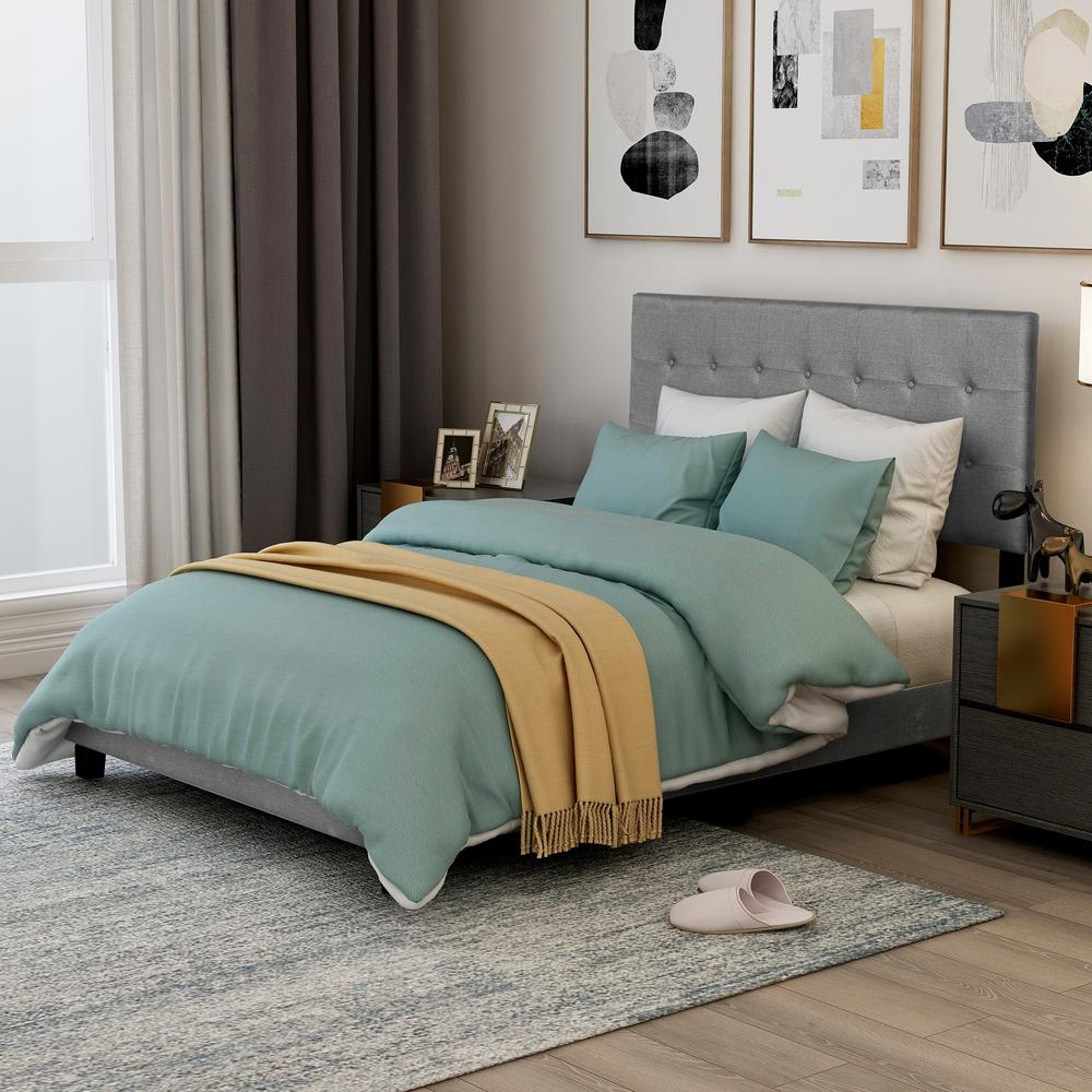 Harper & Bright Designs Gray Queen Upholstered Linen Stitch Tufted Platform Bed with Slat Support was $319.99 now $221.25 (31.0% off)