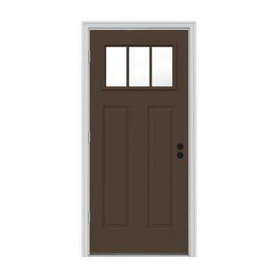 32 in. x 80 in. 3 Lite Craftsman Dark Chocolate Painted Steel Prehung Right-Hand Outswing Front Door w/Brickmould