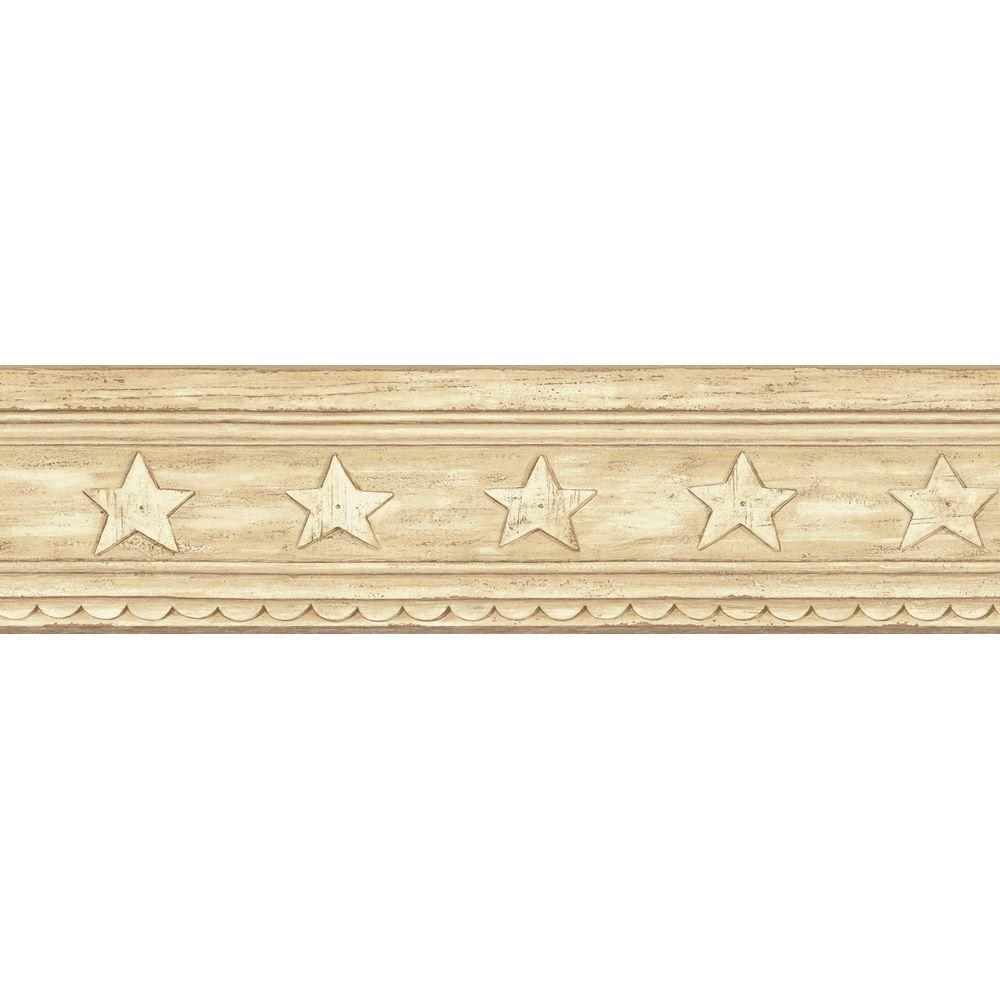 The Wallpaper Company 5.13 in. x 15 ft. Beige Star Crown Molding Border