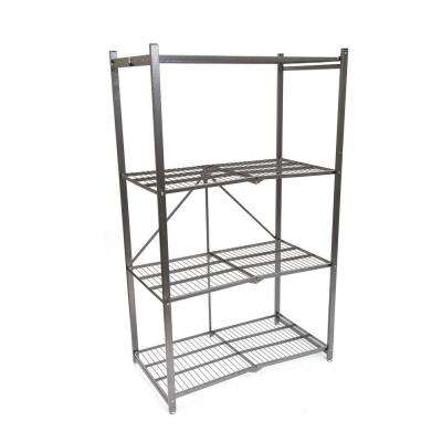4-Tier Steel Foldable Shelf in Pewter