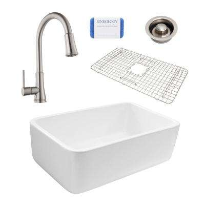 Bradstreet Reversible All-In-One Farmhouse Fireclay 30.5 in. Single Bowl Kitchen Sink and Pfister Faucet Disposal Drain