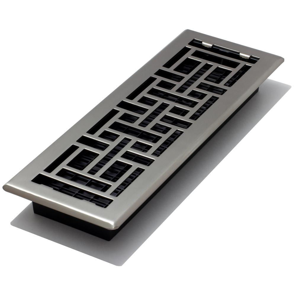 4 in. x 14 in. Steel Brushed Nickel Floor Register Oriental Design
