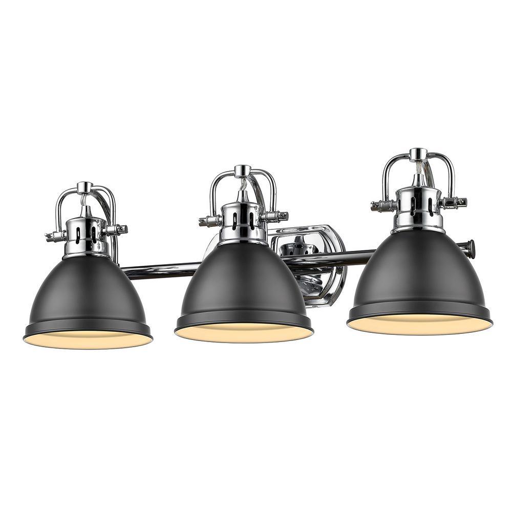Duncan 3-Light Chrome Bath Light with Matte Black Shade