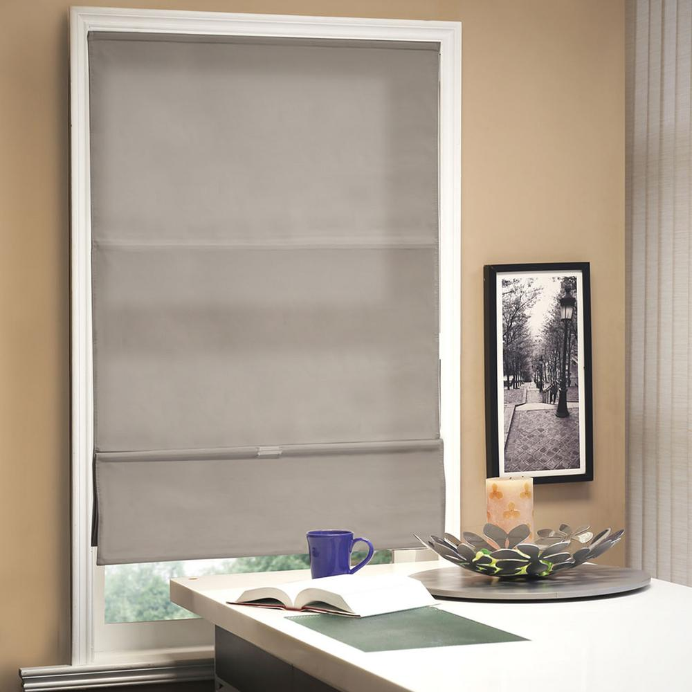 L Allure Taupe Light Filtering Horizontal Fabric Roman Shade RMAT3164  The Home Depot Chicology 31 in W x 64