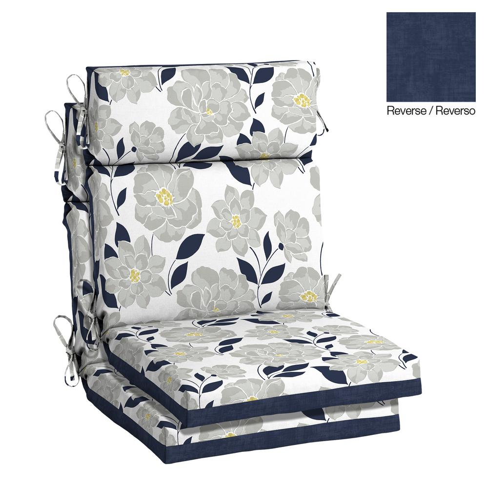 Hampton Bay 21.5 x 20 Outdoor Dining Chair Cushion in Olefin Flower Show - Hampton Bay 21.5 X 20 Outdoor Dining Chair Cushion In Olefin Flower