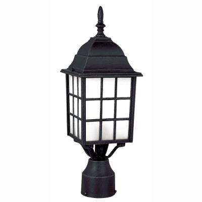 Cityscape 1-Light Outdoor Black Post Top Lantern with Frosted Glass