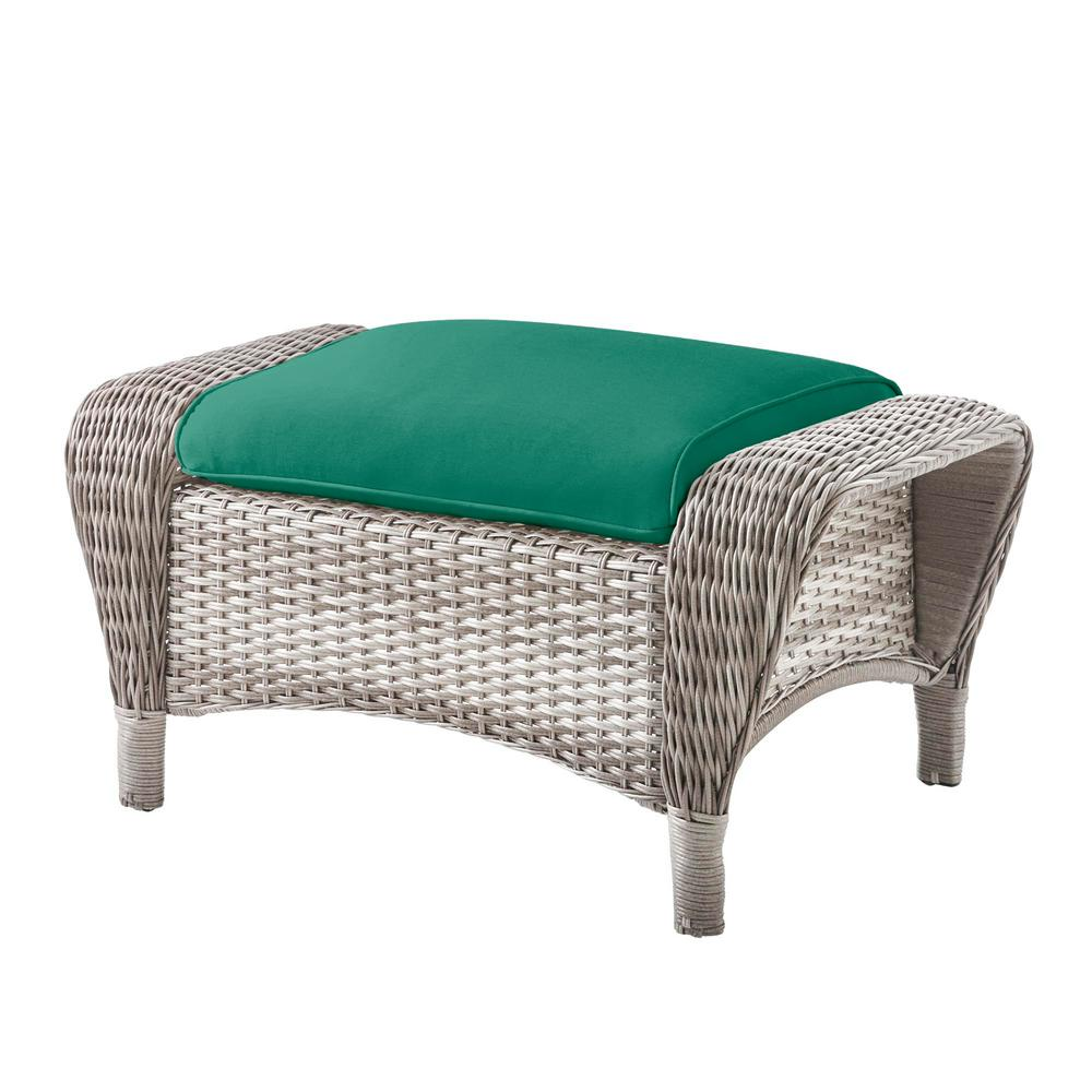 Beacon Park Gray Wicker Outdoor Patio Ottoman with CushionGuard Seaglass Turquoise Cushions