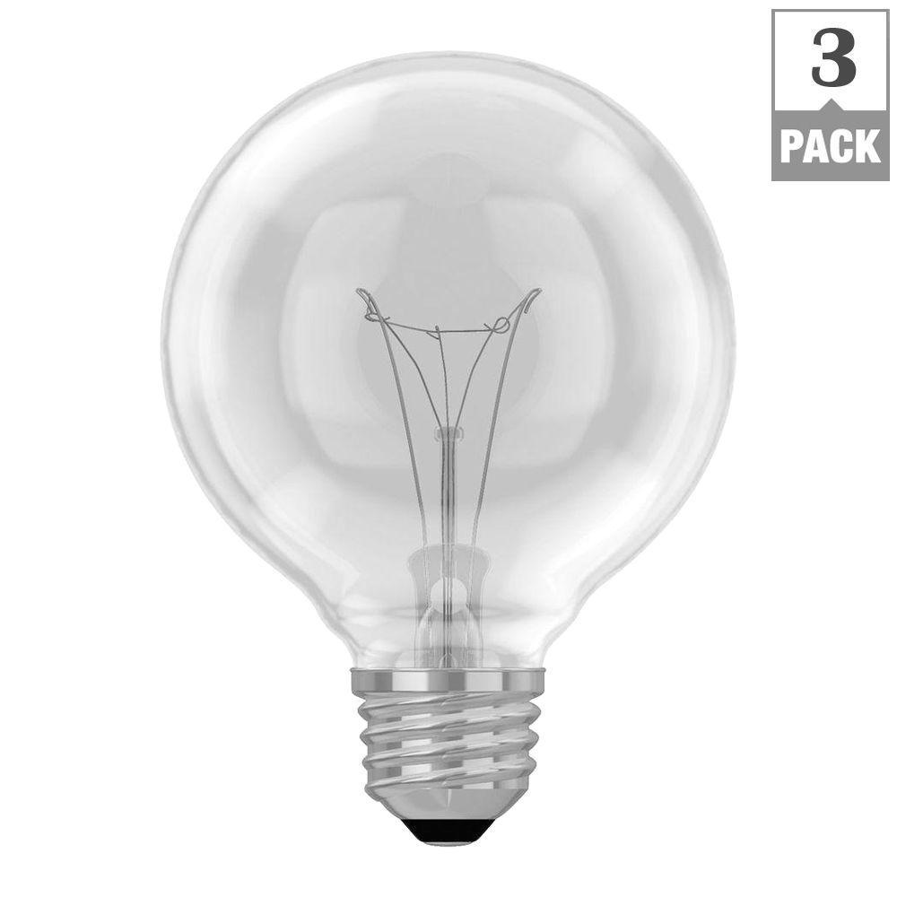 40watt g25 globe double life clear light bulb 3pack