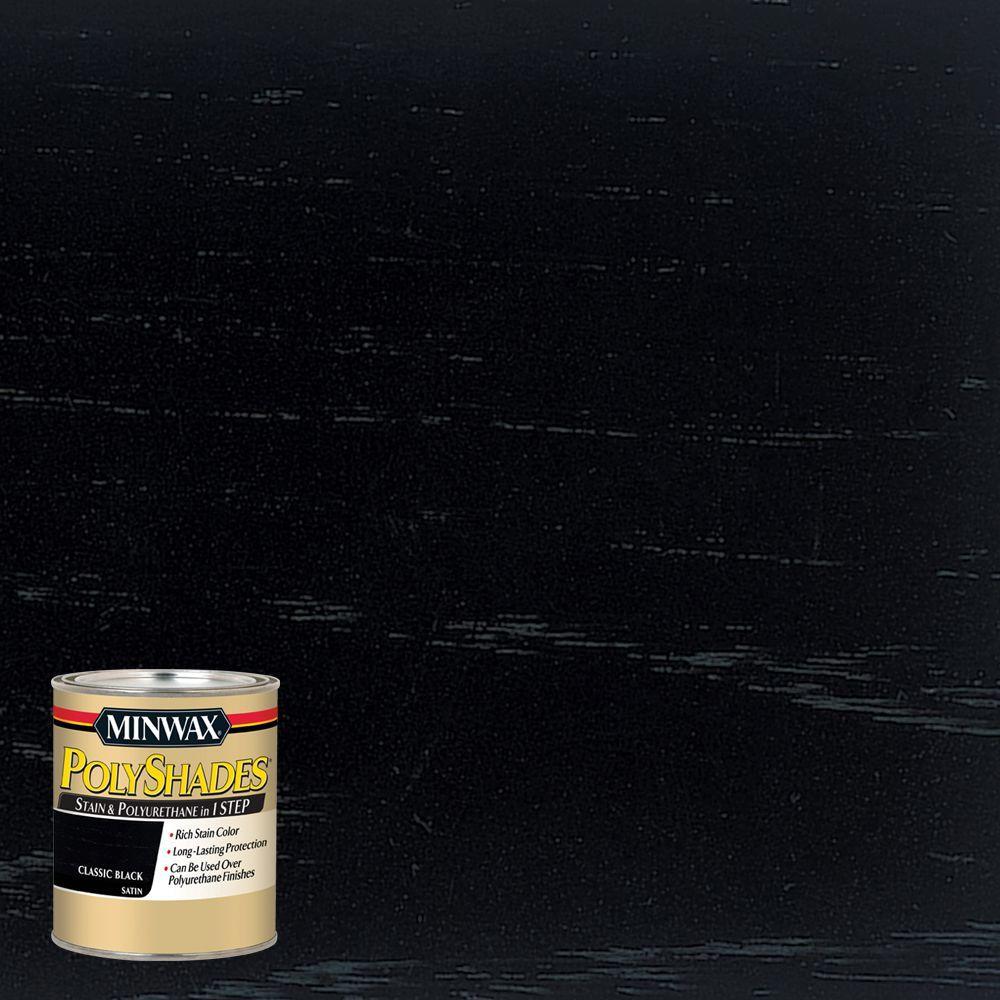 8 oz. PolyShades Classic Black Satin 1-Step Stain and Polyurethane (4-Pack)