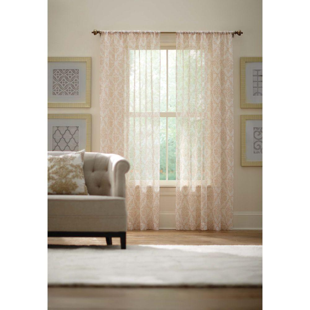 Home decorators collection sheer ivory rod pocket printed sheer curtain 52 in w x 84 in l Home decorators collection valance
