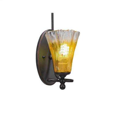 1-Light Dark Granite Sconce with Gold Champagne Ribbed Glass