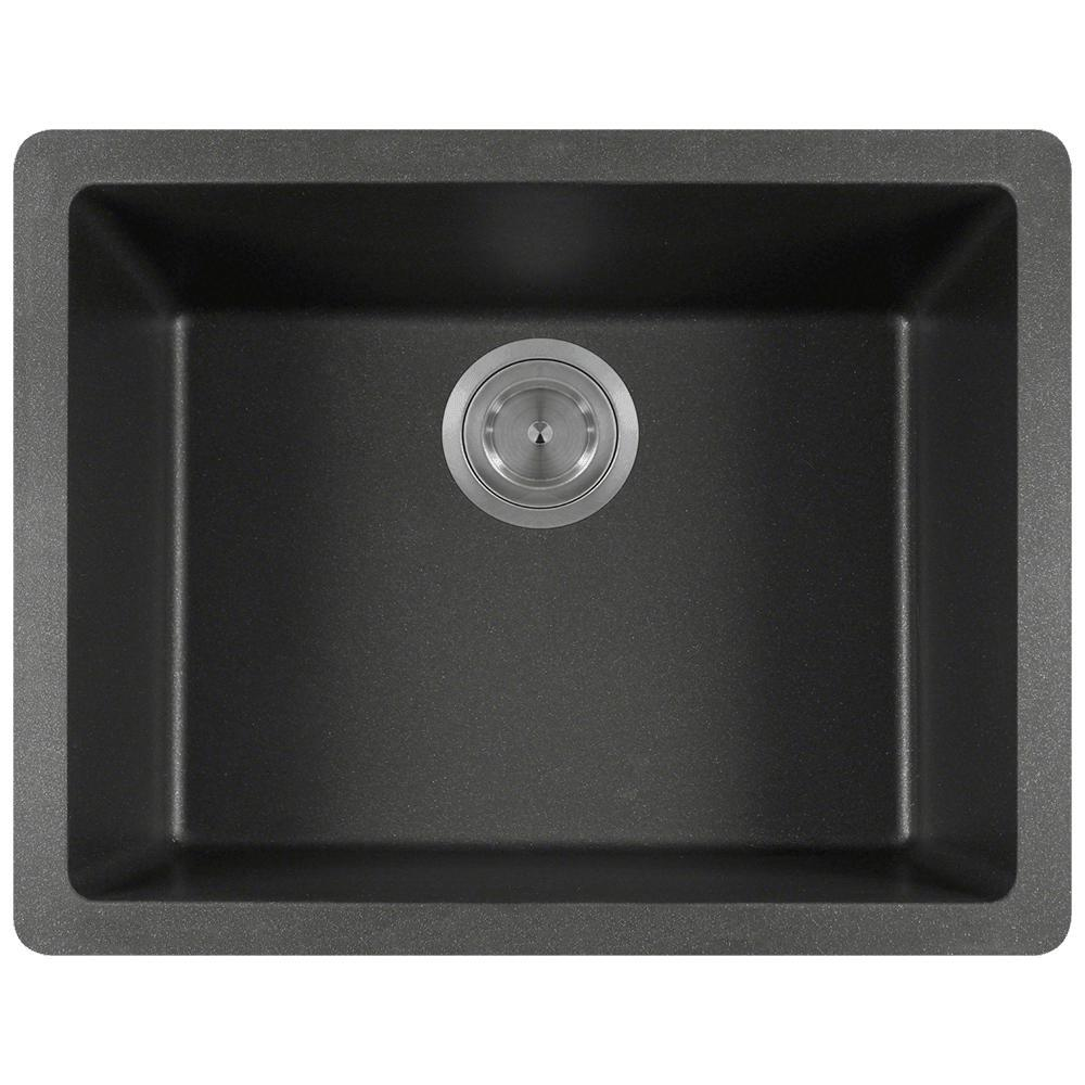 Black Kitchen Sink Home Depot: Elkay Premium Quartz Drop-In/Undermount Composite 24 In