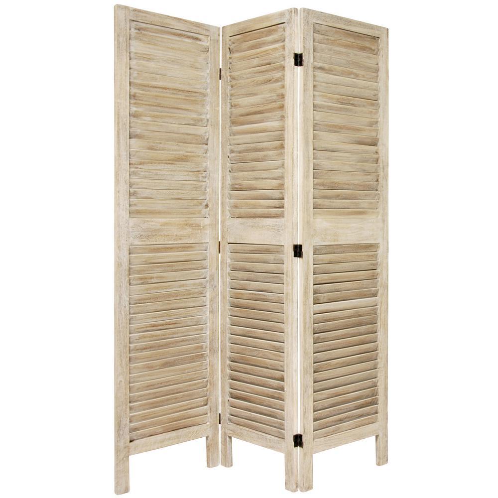 6 ft. Burnt White Venetian 3-Panel Room Divider