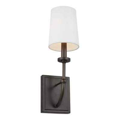 Stowe 4.75 in. Antique Bronze Sconce with White Parchment Shade