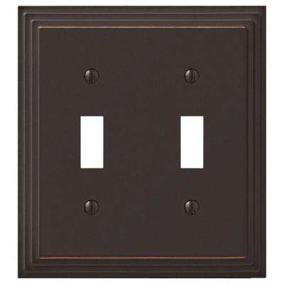 Tiered 2 Toggle Wall Plate - Aged Bronze Cast