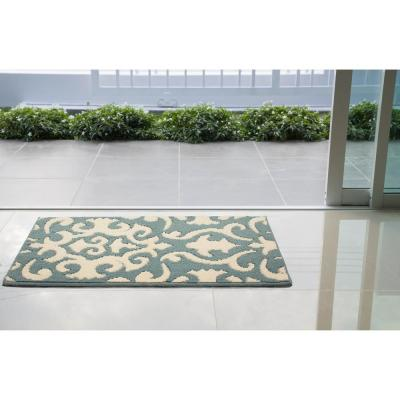 Phelomena Mineral Blue/Ivory 2 ft. x 3 ft. Loop Area Rug