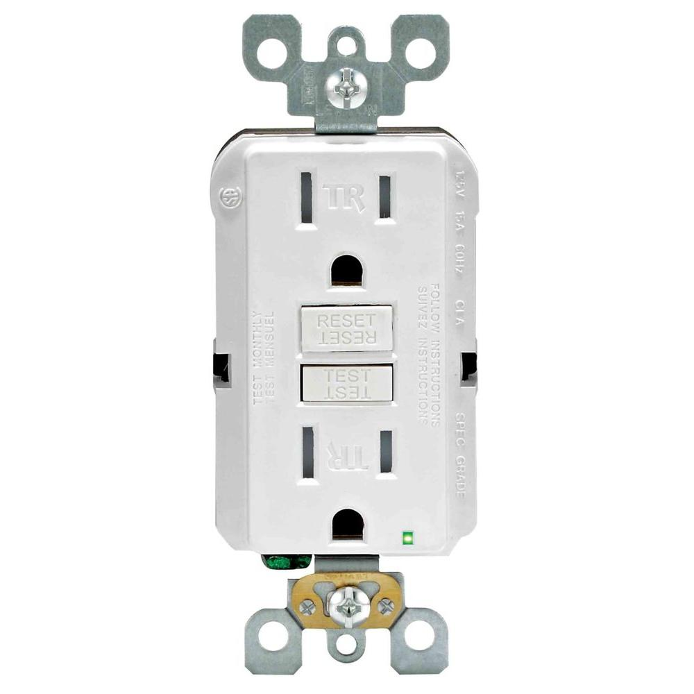 Leviton SmartlockPro 15 Amp Slim Tamper Resistant GFCI Duplex Outlet, White