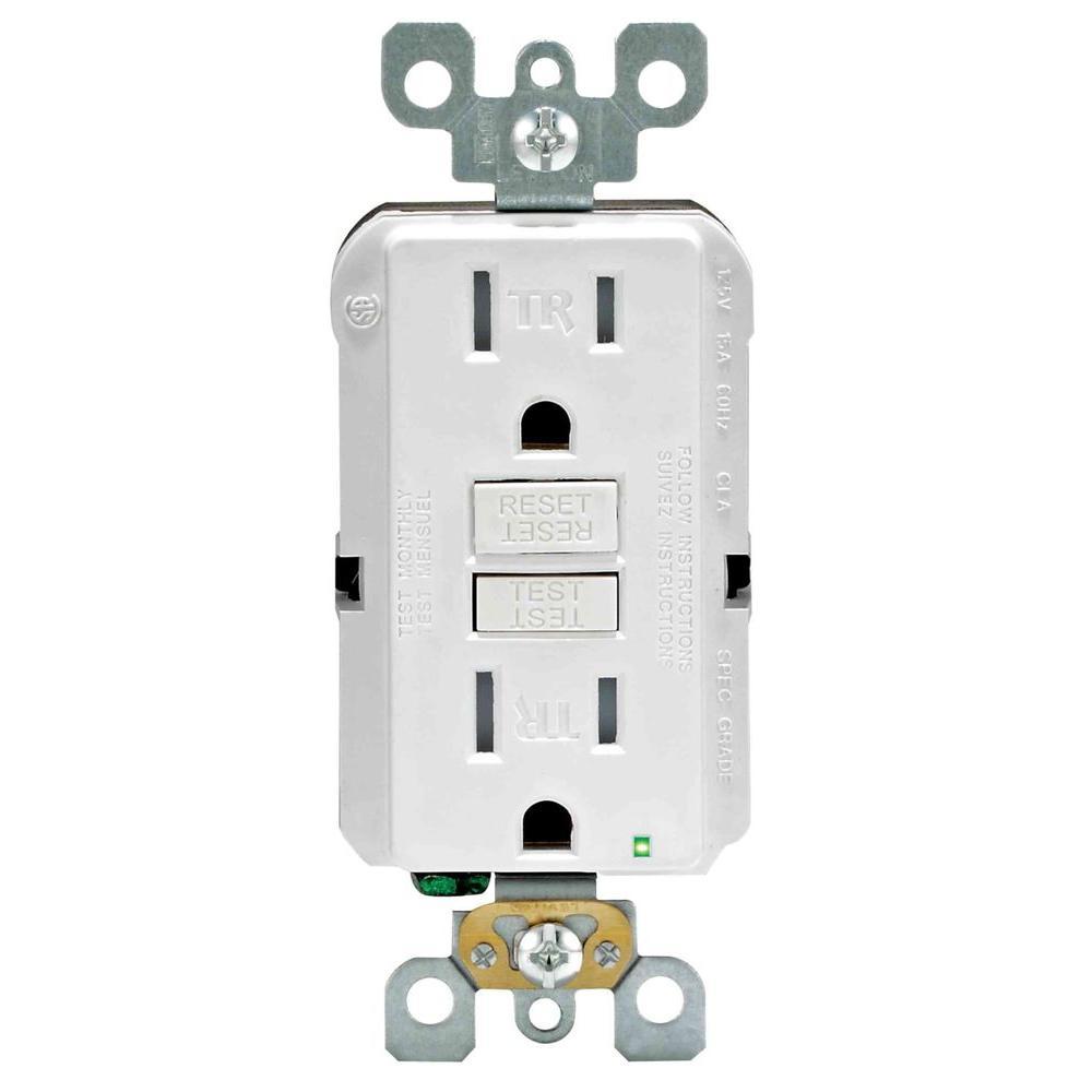 Leviton Smartlockpro 15 Amp Slim Tamper Resistant Gfci Duplex Outlet White R02 X7599 0kw The