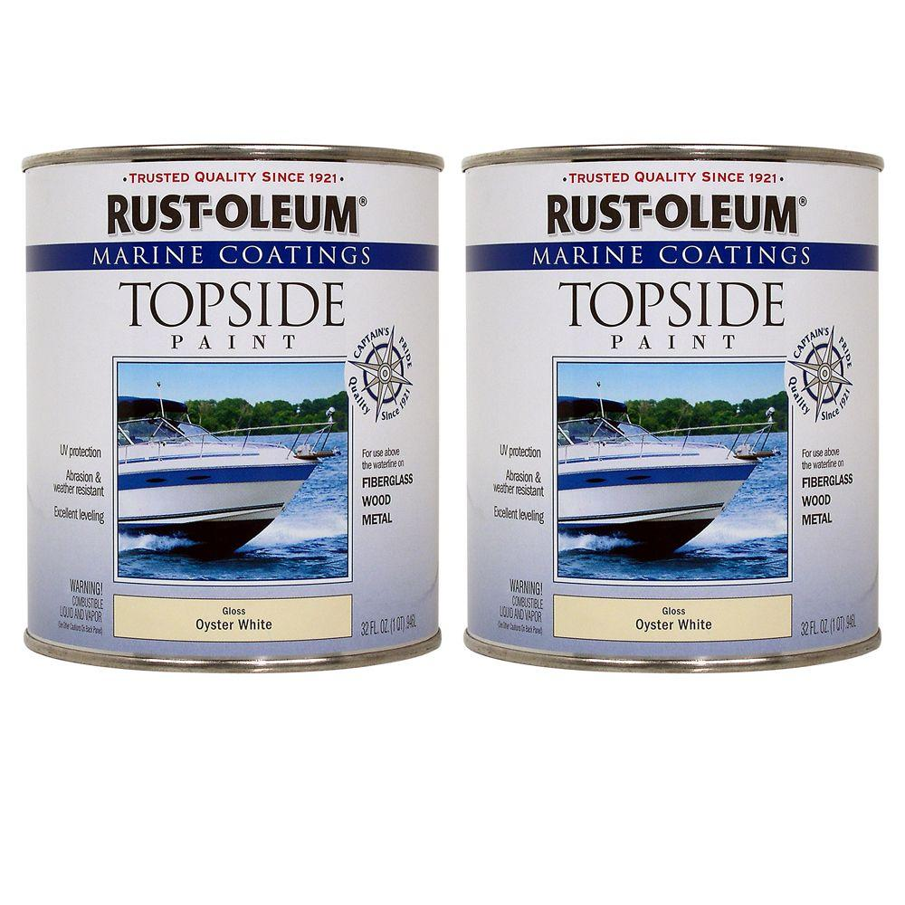 Rust-Oleum Marine Coatings 1 qt. Gloss Oyster White Topside Paint (2-Pack)-DISCONTINUED