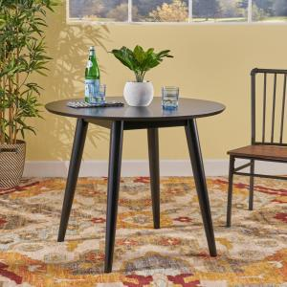 Wondrous Noble House Wynonna Mid Century Modern Round Black Faux Wood Machost Co Dining Chair Design Ideas Machostcouk