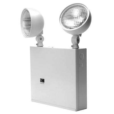 New York Approved 2-Head White Steel Emergency Fixture Unit  sc 1 st  The Home Depot & Emergency u0026 Exit Lights - Commercial Lighting - The Home Depot